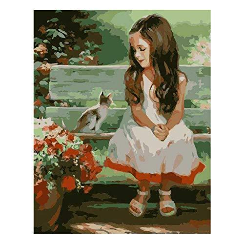 YSNMM Meisjes kat bloem bank afbeelding DIY digitaal schilderen op cijfers Moderne muurkunst canvas schilderij uniek geschenk wooncultuur