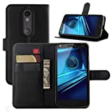Droid Turbo 2 Cases, Premium PU Leather Wallet Flip Case Cover with Stand Card Holder for Motorola Droid Turbo 2 Verizon/Moto X Force 2015 Smart Phone (Wallet - Black)
