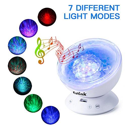 12 LED Ocean Wave Nachtlampje Projector, 1/2 / 4H Timerinstellingen Multicolor Projector Nachtlampje TF-kaart Solt Ingebouwde muziek voor thuis Baby Gift Party
