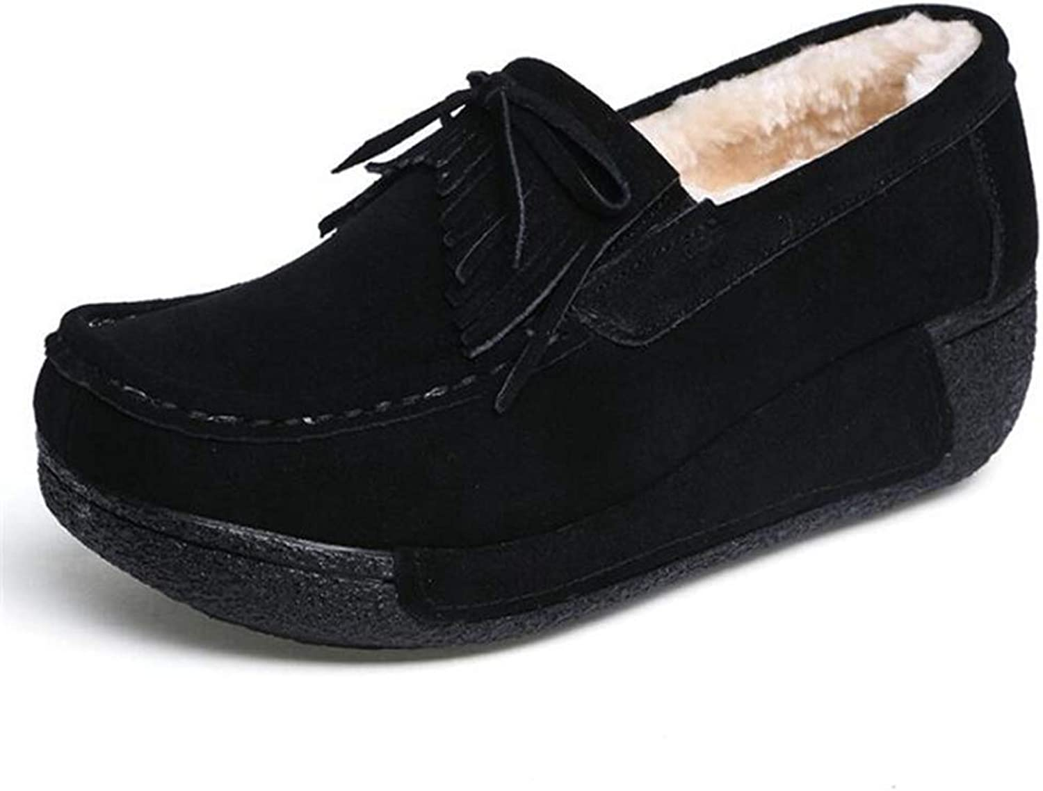 T-JULY Women Flats Platform Suede Leather shoes Winter Keep Warm Plush Fur Casual Loafers