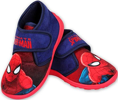 Spiderman Jungen Hausschuhe hoch geschlossen Klettverschluss rutschfeste Sohle 24 25 26 27 28 29 (26 EU)