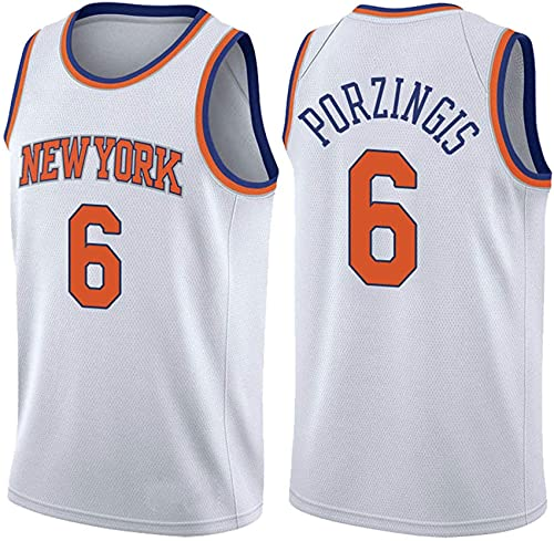 # 6 New York Knicks Jerseys Transpirable Bordado Moda Chaleco Baloncesto Swingman Jerseys Camiseta,Blanco,XL