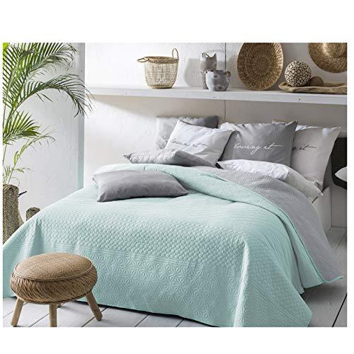 JEMIDI Tagesdecke 200cm x 220cm Bettüberwurf Bettüberwurf Sofaüberwurf Bett Decke gesteppt Tages Tagesdecken Betthusse Mint/Grau