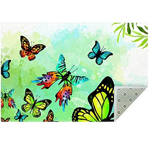 nakw88 Alfombra de suelo grande redonda impresa para sala de estar o dormitorio, alfombra gruesa de juego de 160 cm, color verde