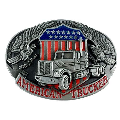 Truck Belt Buckle American Trucker Motorcyclist (TRK-02), Metallic, One Size for all