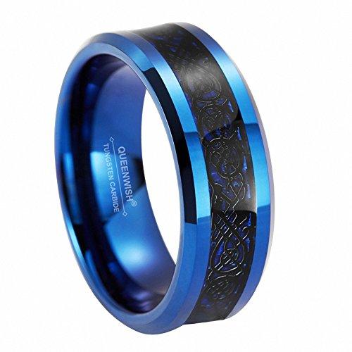 Queenwish 8mm Blue Tungsten Carbide Ring Black Celtic Dragon Blue Carbon Fiber Inlay Wedding Band Size 9