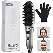Lictin Beard Straightener Brush Comb for Men - Ionic Face Beard Hair Straightening Brush, Fast Heating 120°C-200°C and Quick Styling Comb with Heat Resistant Glove