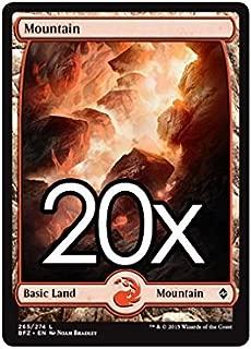 20 Battle for Zendikar Mountain #265 Magic the Gathering Basic FULL ART Land Lot