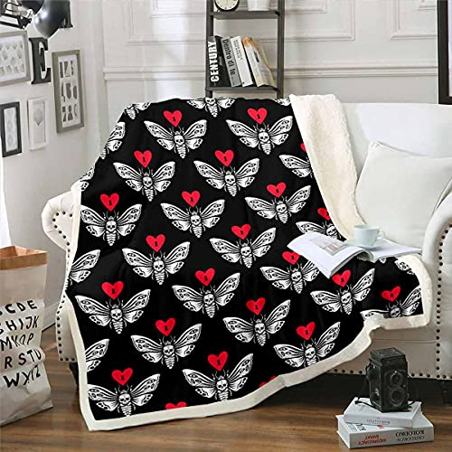 Manta de felpa de sherpa de Halloween, manta de felpa con calavera, manta de forro polar moderna para cama, sofá, amor, bebé ultra suave, 30 x 40 pulgadas