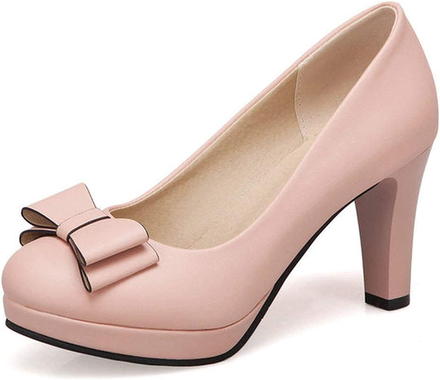 Meiguiyuan 2019 Women shoes Pu Leather Square High Heel Round Toe Slip on Bow Tie Women Pumps