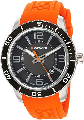 Wenger Men's Roadster Stainless Steel Swiss-Quartz Watch with Silicone Strap, Orange, 22 (Model:...