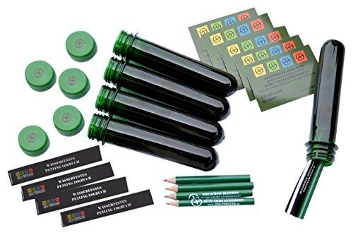 GEO-VERSAND 5 x Petling 13 cm mit Aufkleber, Stift und Logbuch, grün, 11110