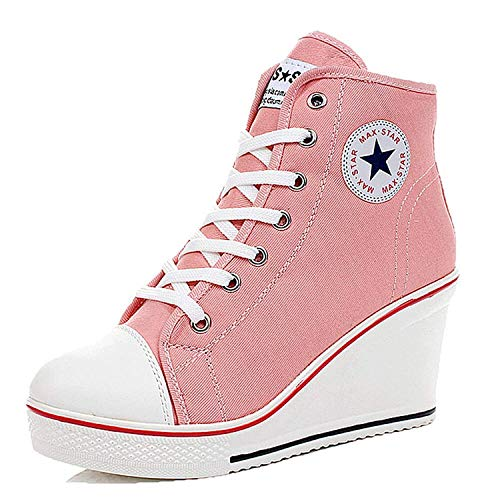 Qimaoo Damen Keilabsatz Schuhe Mädchen Canvas Sneaker Schuhe für Sport Freizeit - EU 37=CN 37(Pink)