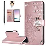 Case for Galaxy S21 Ultra Cover,Bling Diamond Glitter Embossing Mandala Owl PU Leather Fold Wallet Flip Stand Protective Case Cover for Galaxy S21 Ultra Wallet Case,Rose Gold