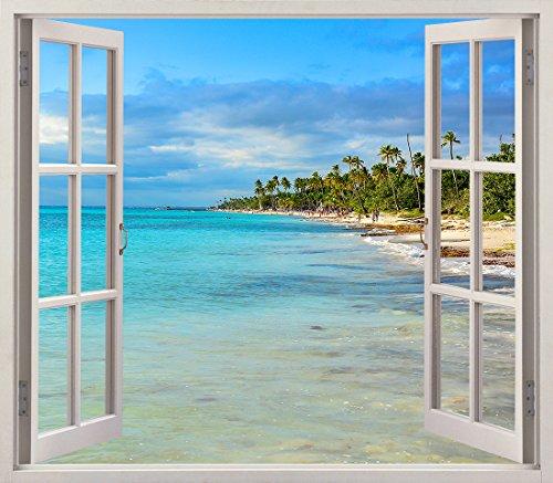Pegatinas 3D Vinilo Ventana Varias Medidas 150x130cm | Adhesivo Incluido | Decoracion Habitación |Playa, del Caribe con Palmeras | Multicolor | Diseño Elegante |