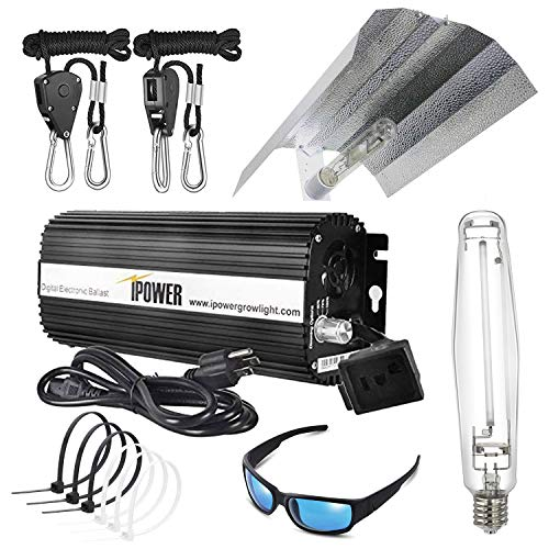 iPower GLSETX1000DHW20GBCB4 1000 Watt HPS Digital Dimmable Ballast Light System Kits Horticulture Wing Reflector Hood Set with HPS & MH Grow Room Glasses Anti UV and Cable Tie of 4in, 1000W