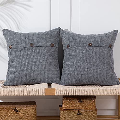 Anickal Dark Grey Pillow Covers 18x18 Inch with ...