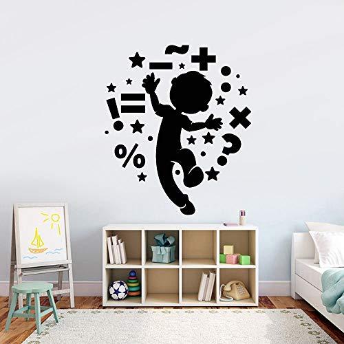 JXMN Customizable school class children's room door and window math symbols wall decals personality cartoon dancing boy children vinyl sticker 71x59cm