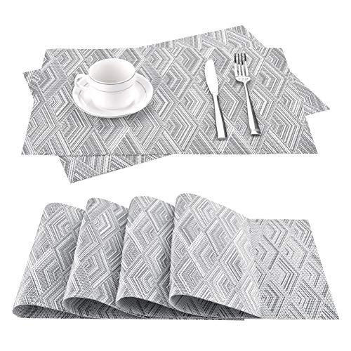 moonlux Platzdeckchen Abwaschbar 6er Set, Tischsets Abgrifffeste Hitzebeständig rutschfeste PVC Platzsets für Küche Speisetisch, 30x45cm (Grau)