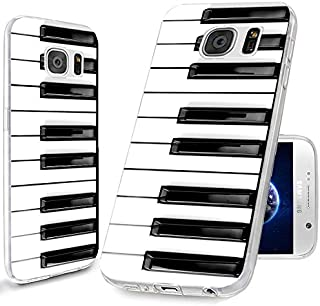 S7 Case,Galaxy S7 Case, ChiChiC [Cute Series] Full Protective Case Slim Flexible Soft TPU Gel Rubber Cases Cover Skin for Samsung Galaxy S7,Music Design Funny Black White Piano Key