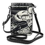 Hdadwy Skeleton Skull Rides Motocicleta Crossbody Monedero para teléfono Pequeño Mini bolso de hombro Bolsa para teléfono celular Cartera de cuero para mujeres y niñas