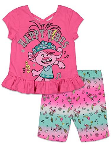DreamWorks Trolls Poppy Toddler Girls French Terry Bike T-Shirt Shorts Set Pink 2T