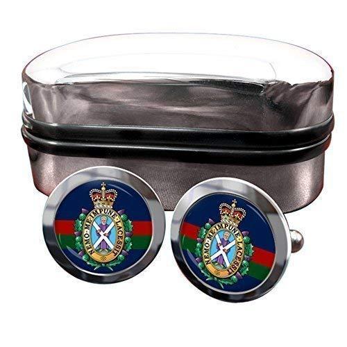 Noir Montre (42ème (Royal Highland) Régiment de Pied) Hommes Boutons avec Boîte Cadeau Chrome