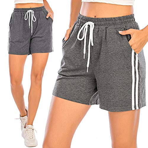 Pantalones Cortos Deportivos para Mujer Entrenamiento Yoga Verano para Hacer Ejercicio Trotar Gimnasio Pijamas Interior Casual Suelto Elástico con Banda Gris Oscuro XXL