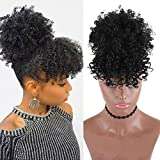 Afro Puff Ponytail Drawstring with Bangs Synthetic Short Kinky Curly Drawstring Hair Bun Pony Tail for Black Women Clip in on Wrap Updo Hair Extensions (1b)
