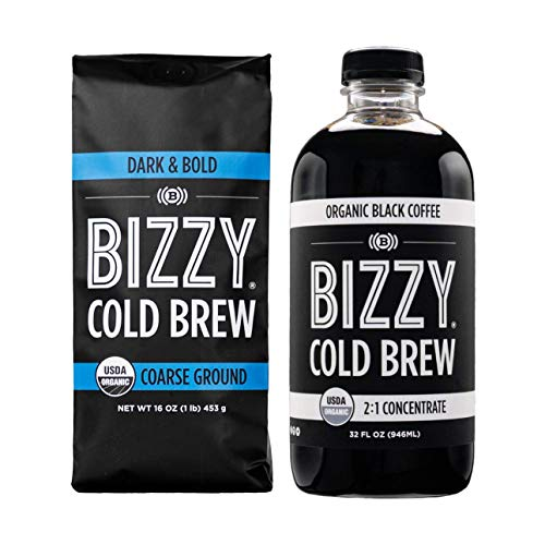 Bizzy Organic Cold Brew Coffee   Bundle   Concentrate 1-pack + Coarse Ground Dark & Bold 1 LB   2 Pack