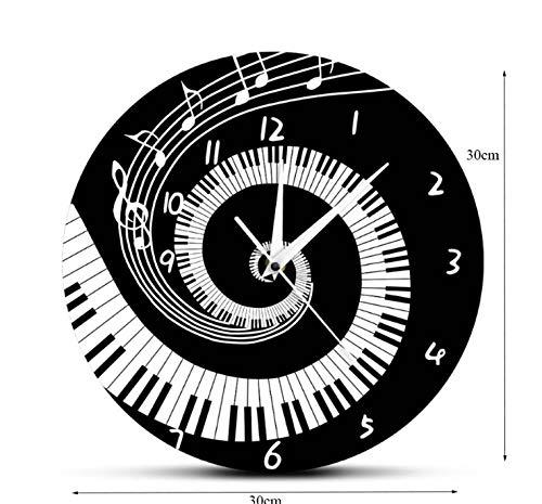 DBQRS7 Wanduhr Elegante Schwarz-Weiß-Klaviertasten Wanduhr Musiknoten Musik Tastatur Welle Runde Wanduhr Geschenk Für Musikliebhaber Pianist