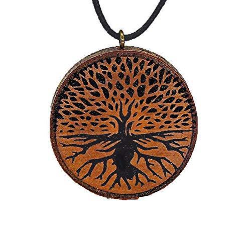 SOULSLICES Baum des Lebens 5 Holz-Kette - Natur - Holzanhänger - Vegan - Nachhaltig - Astschmuck - Gravur - Yoga - Bedeutung- Geschenk - Natur-Schmuck - Damen - Frauen