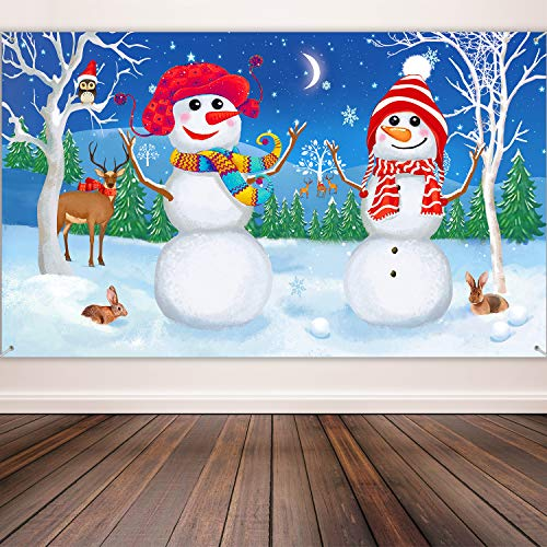 Christmas Decoration Supplies, Extra Large Fabric Snowman Scene Backdrop Setter Snowman Background Banner for Winter Party Decoration, Winter Friends Wall Backdrop, 72.8 x 43.3 Inch