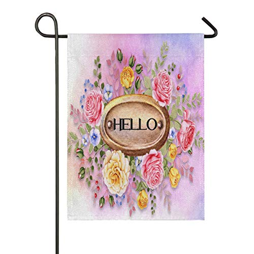 Garden Flags,Hello Flowers Double Sided Flag Banner for Home Imitation Linen Indoor Outdoor Yard Decoration,Spring Summer Fall Winter Patio Lawn Flag Burlap(28x40 in)