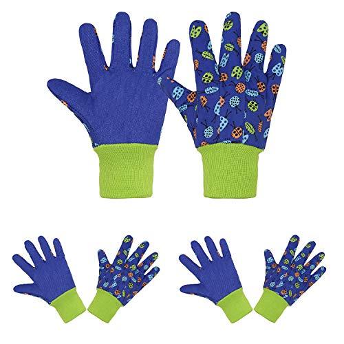 3 pares de guantes de jardinería suaves y cómodos para niños, guantes de trabajo de jardín (S, insectos azules)