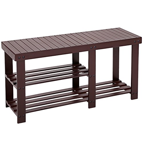 SONGMICS Bamboo Shoe Rack Bench for Boots, Entryway Storage Organizer, 3 Tiers...