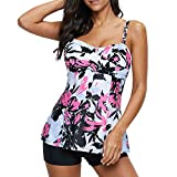 Zando Women's Vintage Two Piece Swimming Suit Printed Teen Swimwear Skirted Bathing Suit Tankini Top Boyshort Swimsuits for Women White Pink Flower 2X-Large (US 12-14)
