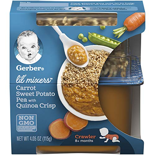 Gerber Purees Crawler Lil' Mixers Rice and Quinoa with Carrot Sweet Potato Turkey Peas, 6 Count