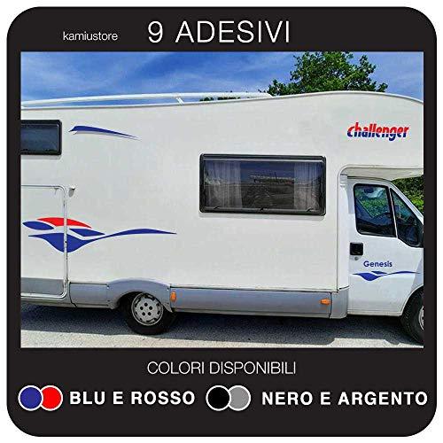 kamiustore Adesivo Challenger Curve per Camper in Vinile prespaziato - Kit 9 Adesivi componibili (Blu/Rosso)