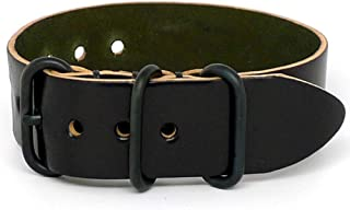 Shell Cordovan 1 Piece Military Watch Strap - Black (PVD Buckle) : 20mm
