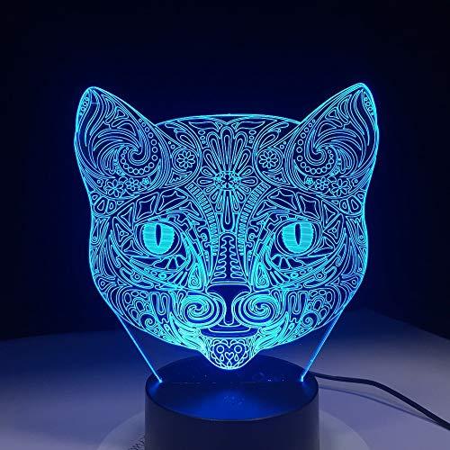 Cara de Gato ilusión de luz Visual luz Nocturna increíble Tipo de Arte de Color Cabeza de Gato Interruptor Sensible al Tacto Transporte de caída de luz