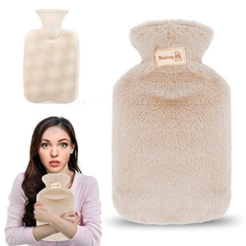 Premium Wärmflasche mit Bezug, 800ml Wärmeflasche mit weichem Plüschbezug, Bettflasche mit Fleece Cover für Kinder und Erwachsene, Schmerzlinderung, Heiß- und Kältetherapie (Hellbraun)