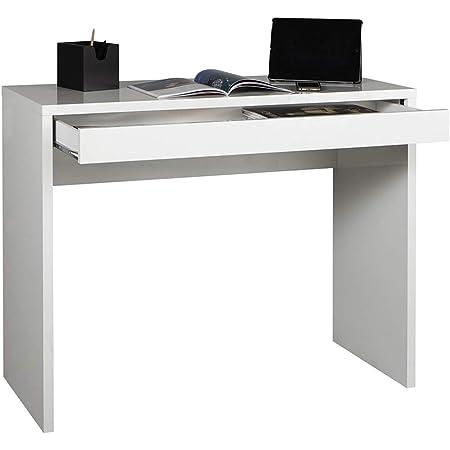 Marque Amazon - Movian Bureau/console à tiroir, 100x80x40cm, Blanc brillant