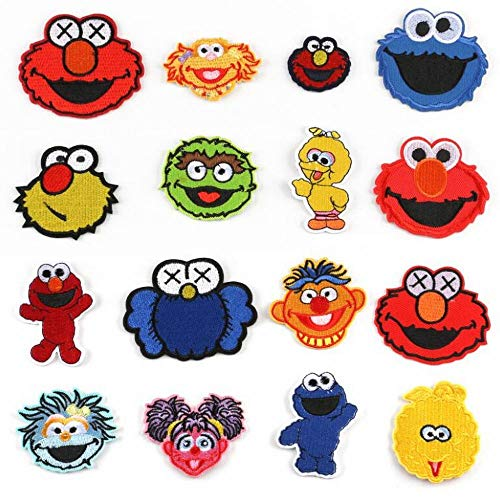 AOLIAY 17 Pcs Cartoon Embroidered Sew on Patch Cloth Stickers Creative DIY Fabric Applique Iron on Patches Clothing Accessories for Jacket Backpacks Jeans, Colorful