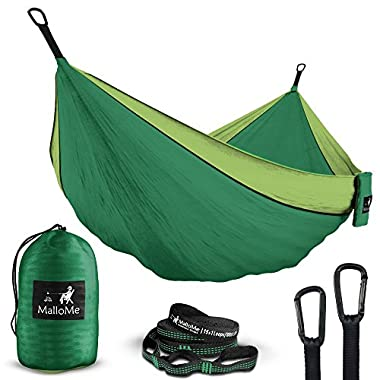 Double Portable Camping Hammock & Straps - Parachute Hammock Tree Straps Set with Max 1000 lbs Breaking Capacity Included - Free Lightweight Carabiners for Backpacking, Camping, Hiking, Travel, Beach