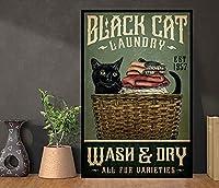 レトロなヴィンテージ黒猫ランドリーウォッシュアンドドライファンセイリングメタルティンサインアンティークプラーク素朴なポスターバー家の壁の装飾8x12インチ