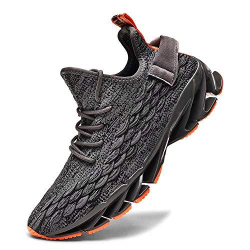 FUSHITON Sportschuhe Herren Laufschuhe Damen Turnschuhe Freizeitschuhe Atmungsaktiv Sneakers Mode Straßenlaufschuhe, 2202grau, 43 EU