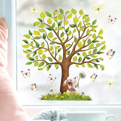 Wandtattoo Loft Fensterbild Frühling Ostern Baum Tiere wiederverwendbar Fensteraufkleber Kinderzimmer / 3. Baum mit Hase (1168) / 2. A3 Bogen