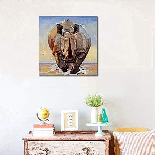 Animales Dibujado a Mano Lienzo Pintura Rinoceronte Corriendo Moderno Arte Decor Pintura al óleo Estiramiento y Marco Hermoso Pared Decoración,NoFrame,90x90cm