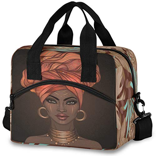 MNSRUU Insulated Lunch Bag African American Beautiful Girls Lunch Tote Reusable Cooler Bag Container with Adjustable Shoulder Strap